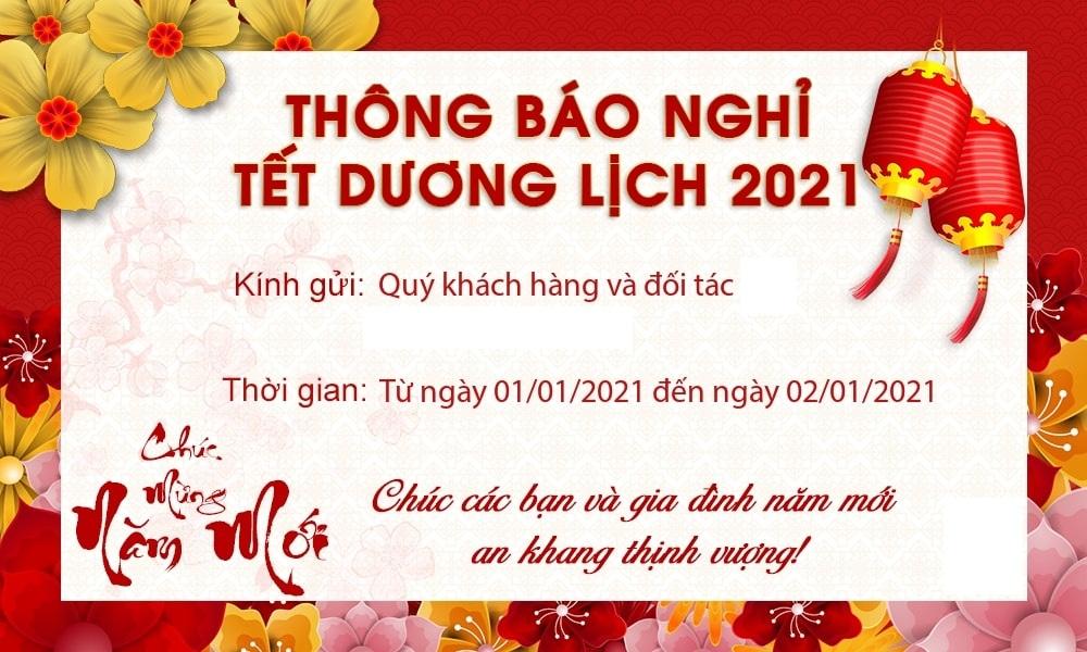 SH GROUP thông báo lịch nghỉ tết dương lịch 2021